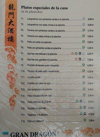 Restaurante chino Gran Dragon: Platos especiales de la casa