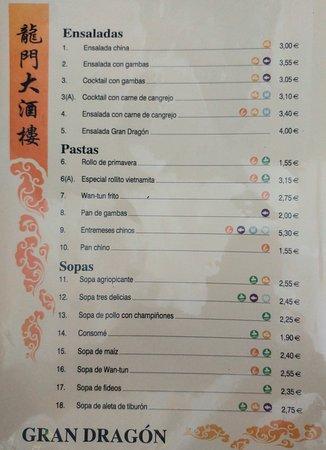 Restaurante chino Gran Dragon: Ensaladas, pastas y sopas