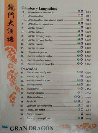 Restaurante chino Gran Dragon: Gambas, langostinos y pescados