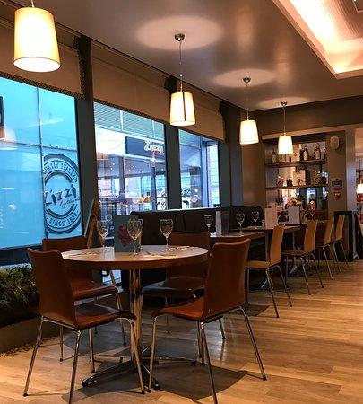 Inside the restaurant, bright and modern interior.