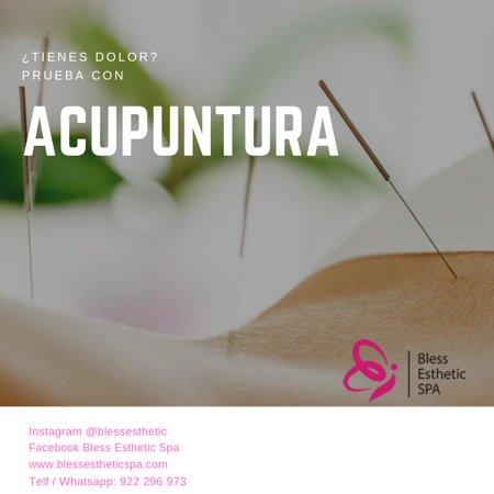Lima, Peru: Acupuntura para el dolor  La acupuntura es una técnica ancestral usada para el tratamiento y prevención de múltiples enfermedades y dolencias a lo largo de la historia. En Bless Esthetic Spa te ofrecemos esta terapia para ayudar a mejorar los dolores musculares y articulares.