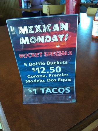 Monday specials.