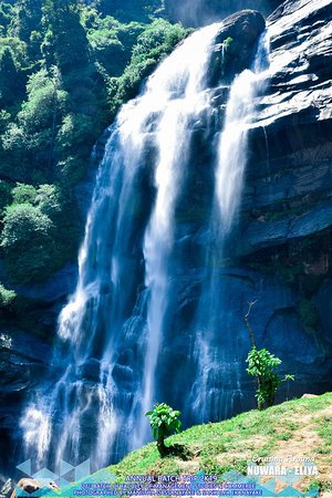 Welimada, Sri Lanka: Height :30 meters District :Nuwara Eliya  The beautiful Bomburu Ella Falls (also known as Perawella Falls) s a collection of about 10 little-known jungle waterfalls, situated between 1500 and 2000m above sea level in the Sita Eliya Kandapola Forest Reserve. They are served by the upper segment of the principal tributary of the Uma River, known as the Duulgala River.  The fall is in both the Nuwara Eliya and Badulla districts, Uva Paranagama Divisional Secretariat, in the Pewella GS area. From