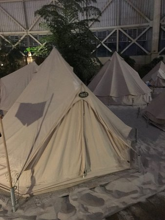 Tropical Islands: Two-person tent on the sands! Don't worry - the tent inside had lining on top of the sand so you're not actually sleeping directly on the sand.