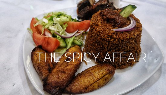 The Spicy Affair: Jollof Rice with Plantain, Pork and Salad