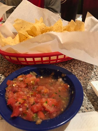 Chuy's: Chips and salsa. Chips were very thin and did not seen to be made in house.