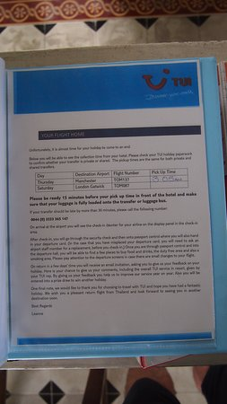 TUI reception folder departure notice - the times do change be warned!
