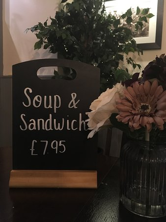 Soup of the Day and any Cold Sandwich served with salad & crisps