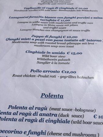 Trattoria Latte di Luna: Some menu items