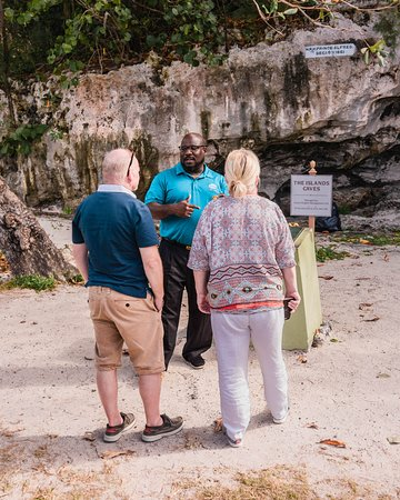 Cousin Marvin sharing the intriguing history of the Caves on our Land and Sea tour.