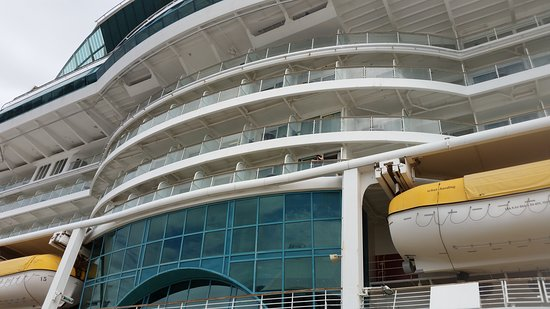 Radiance of the Seas: view of the cabin from the ground - 7602 was just above the glass area abou