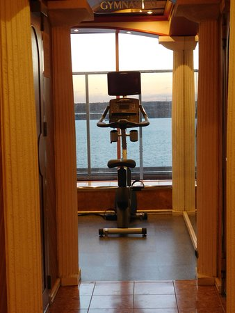 Carnival Pride: Entering the gym.  Large windows overlooking the ocean