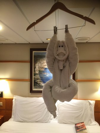 Radiance of the Seas: Towel art waiting for us by Dyaz.
