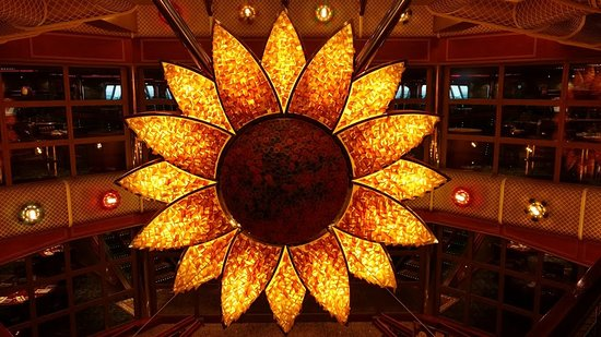 Carnival Conquest: The Sunflower Atrium, just outside the Monet Restaurant in the aft part of the ship