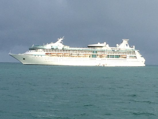 Vision of the Seas: The Vision anchored off the coast of Belize City