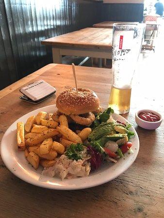 Our 6oz steak burger with chips n salad 😋