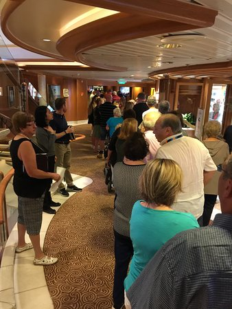 Golden Princess: Queuing up for Breakfast in the Dining Room