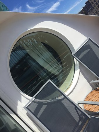 Explorer of the Seas: Cabin 9390 Balcony, Round Window - you can actually sit in.