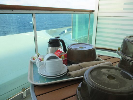 Brilliance of the Seas: Breakfast on our balcony. Notice the obstruction which prevents a straight view down