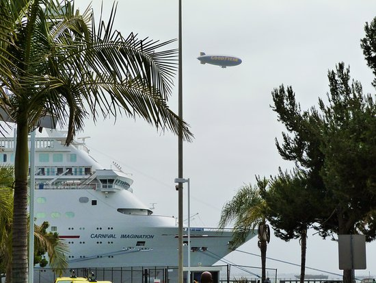 Carnival Imagination: The Goodyear blimp flying over as we embarked!
