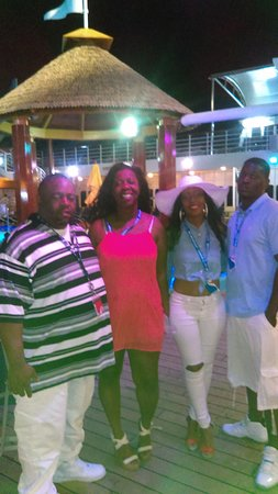 Carnival Fantasy: Us as cousins the first three hours on the Lido Deck...