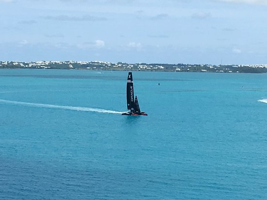 Celebrity Summit: Watching the U.S. America's Cup team practicing in the bay from our bal