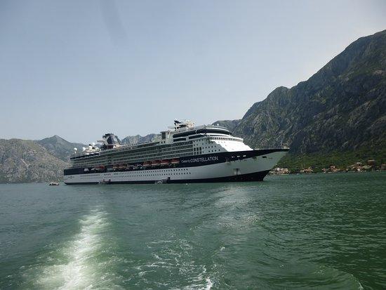 Celebrity Constellation: Constellation anchored at Kotor, Montenegro