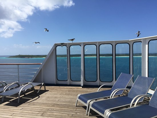 Carnival Elation: This is a shot of Half Moon Cay taken from the deck on the ship.