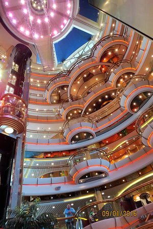 Looking up from the center lobby of Radiance of the Seas.