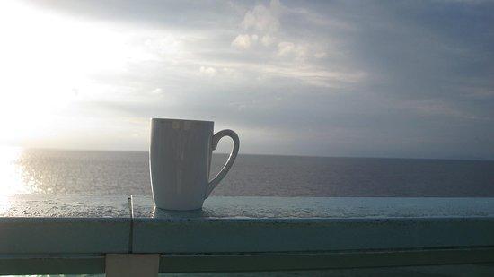 Rhapsody of the Seas: Enjoying my morning coffee on my private deck
