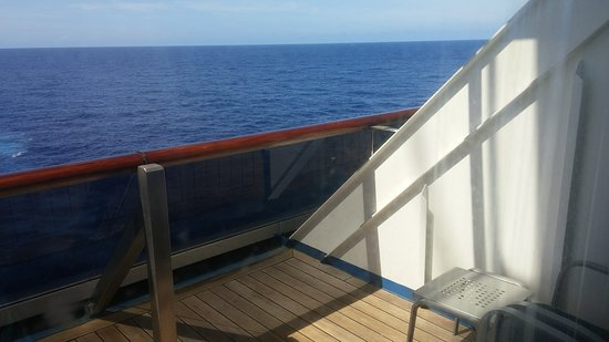 Carnival Conquest: Aft extended balcony for room 8450 -- it is half again as large as the norm
