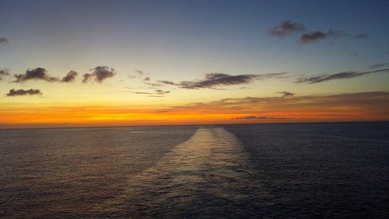 Carnival Conquest: Sunset view from the aft extended balcony
