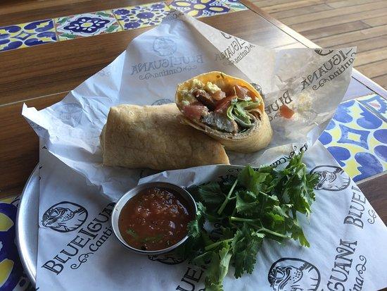 Carnival Imagination: blue iguana, breakfast burrito