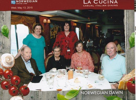 Norwegian Dawn: Enjoying dinner together.