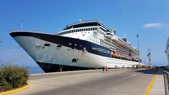 Celebrity Constellation: Ship docked in Corfu.