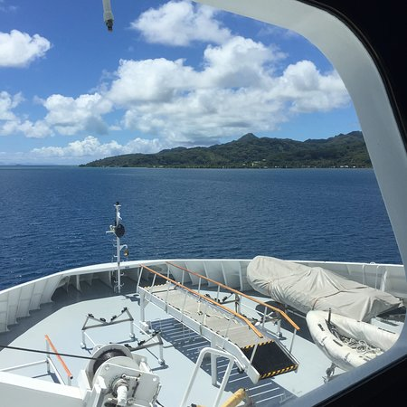 This view from the Bridge is a rare opportunity that Paul Gauguin offers. You can schedule tours of the Bridge and the Galley with such ship emissaries as the Chef himself.
