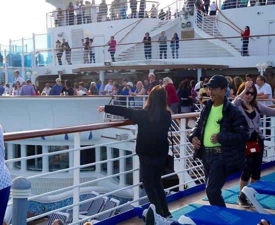 Grand Princess: Sail Away Party top deck