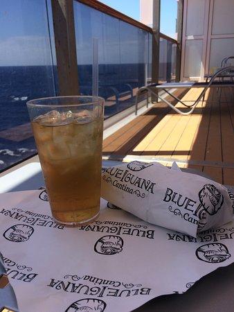 Carnival Spirit: Blue Iguana Cantina burrito enjoyed on my peaceful balcony!