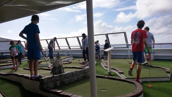 Carnival Triumph Mini Golf. A little small and always seemed to be crowded.