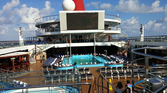 Carnival Triumph - an empty top deck. a rare sight on this class ship.
