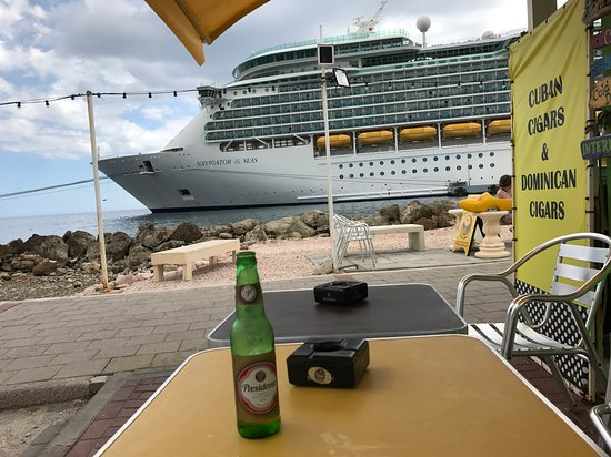 View of Navigator of the Seas from the port at Willemstad, Curacao while dr