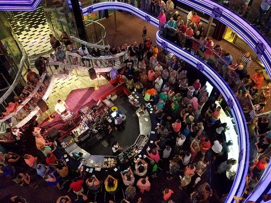 Carnival Fantasy: Cruise Director Mikey Dancing and singing at 80's Trivia
