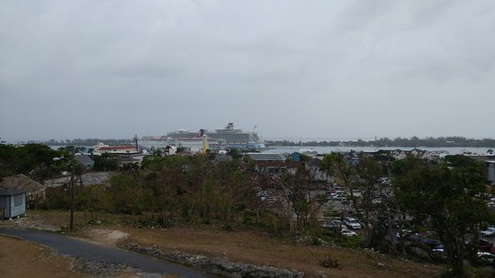 Carnival Ecstasy: View of cruise terminal from Fort Fincastle