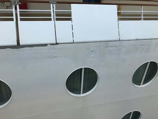 Brilliance of the Seas: Ship is covered in rusty tired paintwork painted and painted again.