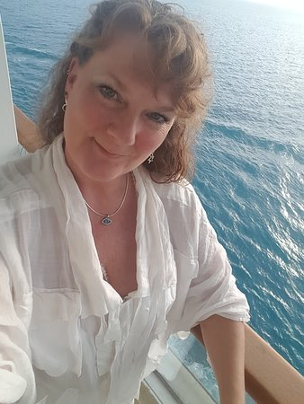 Norwegian Dawn: Me, about to turn 50 (on our balcony)