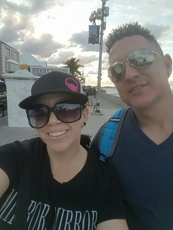Majesty of the Seas: Wife and I walking around Nassau