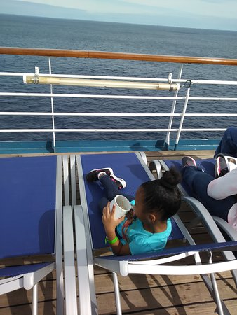 Carnival Elation: Drinking tea at sea. It was a chilly 61° that day.