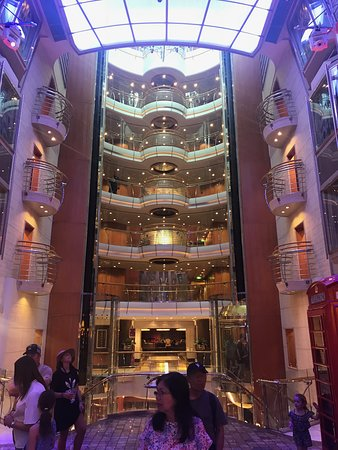 Voyager of the Seas: Some of the 14 levels accessed by these glass lifts.