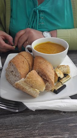 Carrot and coriander soup home made, when you taste this you will want to marry the chef