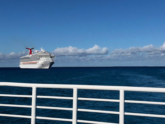 Carnival Glory from our tender boat to Half Moon Cay